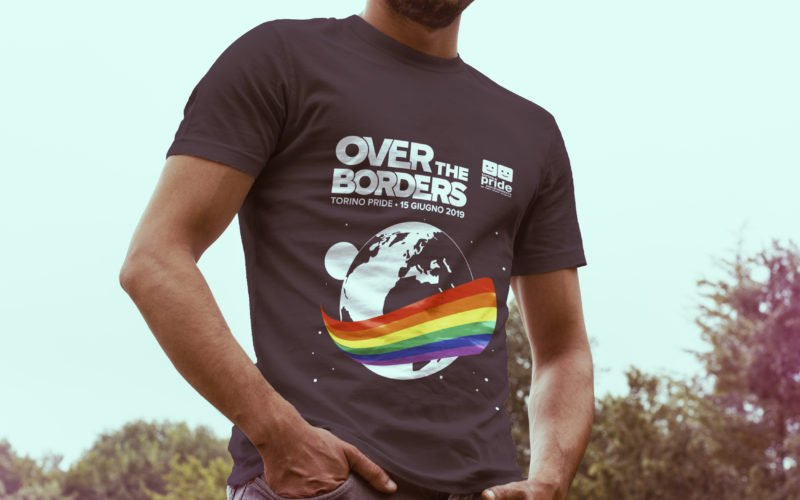 Tshirt rendering Torino Pride 2019, Over the borders